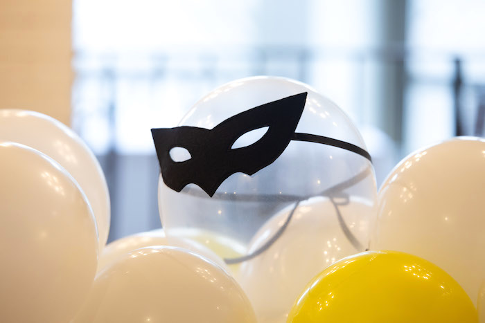 Superhero Masked Balloon from a Superhero Themed Couples Baby Shower on Kara's Party Ideas | KarasPartyIdeas.com (17)