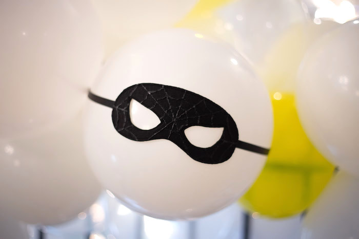 Superhero Masked Balloon from a Superhero Themed Couples Baby Shower on Kara's Party Ideas | KarasPartyIdeas.com (16)
