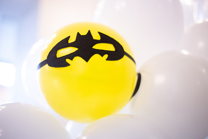 Superhero Masked Balloon from a Superhero Themed Couples Baby Shower on Kara's Party Ideas | KarasPartyIdeas.com (15)