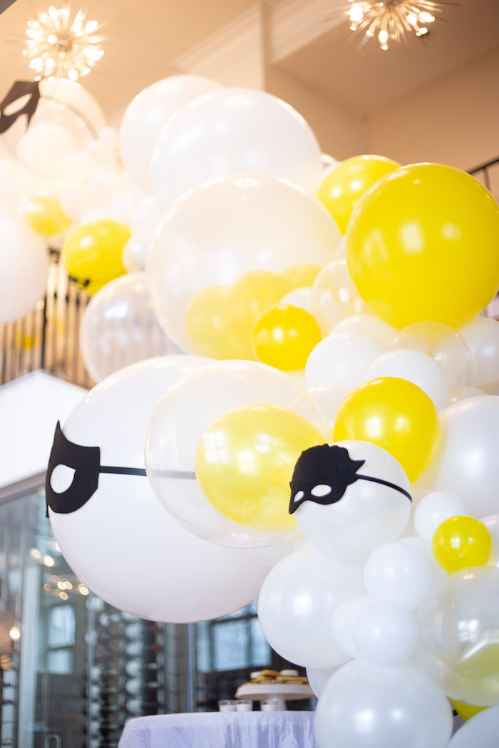 Masked Superhero Balloon Garland from a Superhero Themed Couples Baby Shower on Kara's Party Ideas | KarasPartyIdeas.com (14)