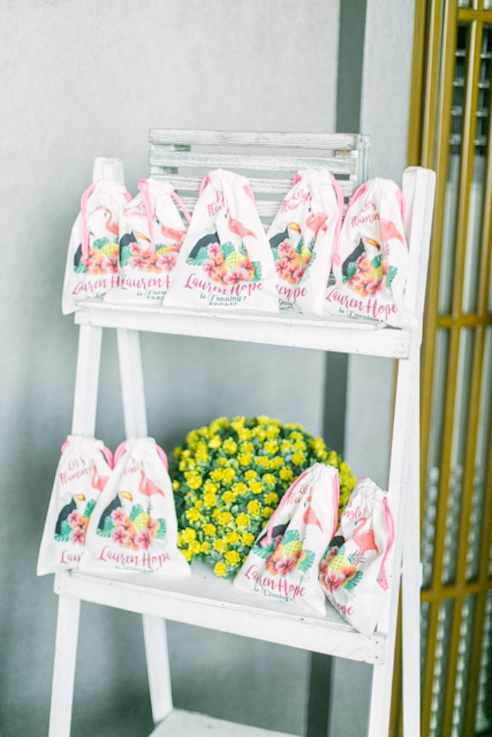 Customized Cotton Favor Bags from a Sweet Flamingo Summer Birthday Party on Kara's Party Ideas | KarasPartyIdeas.com (20)