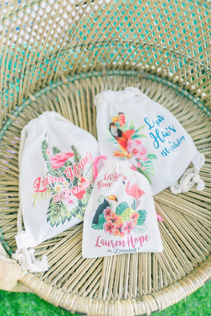 Customized Tropical Drawstring Favor Bags from a Sweet Flamingo Summer Birthday Party on Kara's Party Ideas | KarasPartyIdeas.com (19)