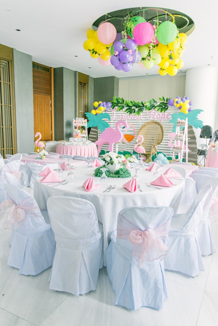 Flamingo Party Tables + Partyscape from a Sweet Flamingo Summer Birthday Party on Kara's Party Ideas | KarasPartyIdeas.com (18)