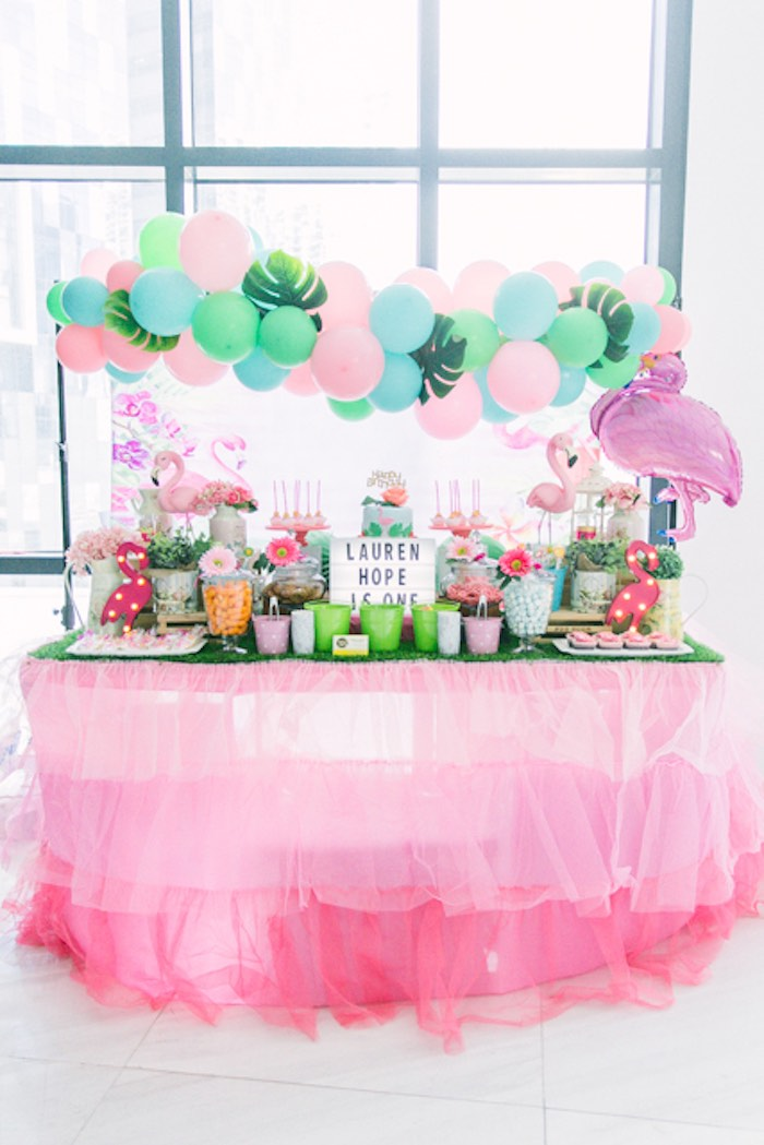 Flamingo Themed Dessert Table from a Sweet Flamingo Summer Birthday Party on Kara's Party Ideas | KarasPartyIdeas.com (17)