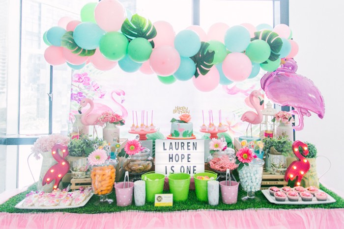 Flamingo Themed Dessert Table from a Sweet Flamingo Summer Birthday Party on Kara's Party Ideas | KarasPartyIdeas.com (16)