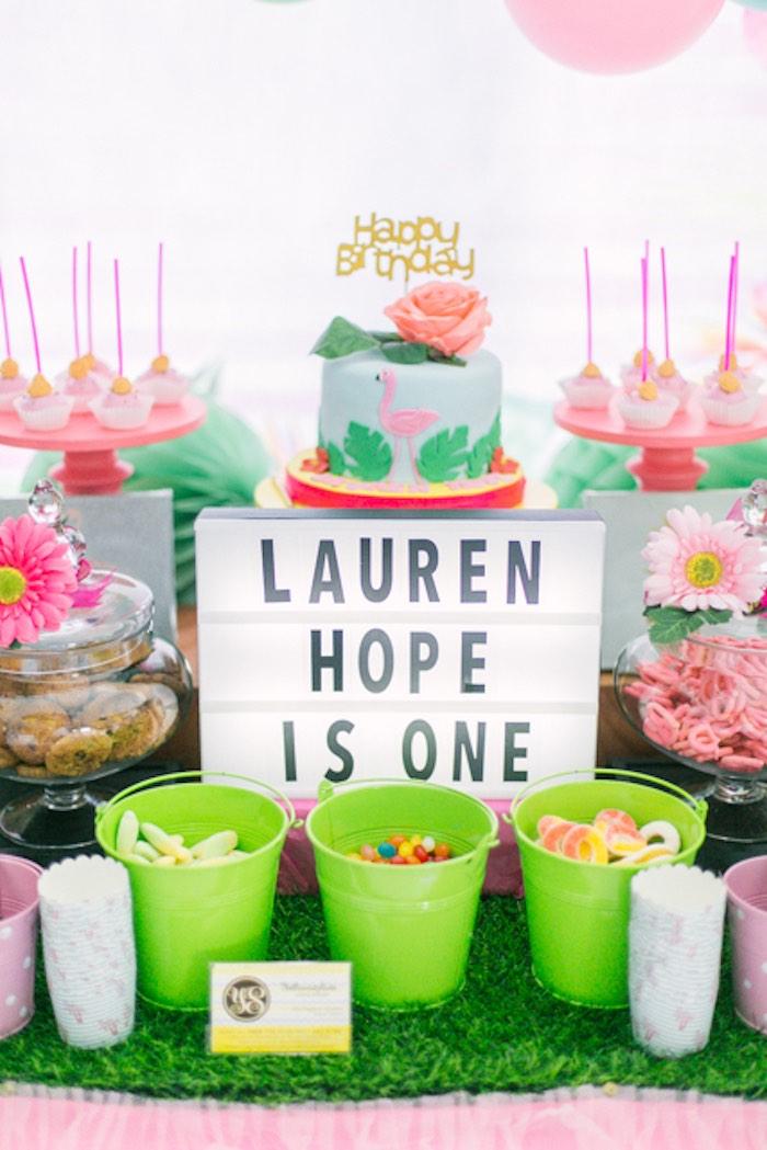 Flamingo Cake Table from a Sweet Flamingo Summer Birthday Party on Kara's Party Ideas | KarasPartyIdeas.com (15)