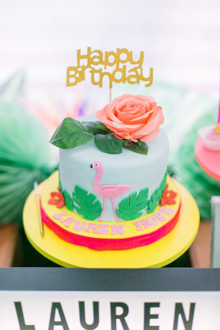 Tropical Flamingo Cake from a Sweet Flamingo Summer Birthday Party on Kara's Party Ideas | KarasPartyIdeas.com (14)