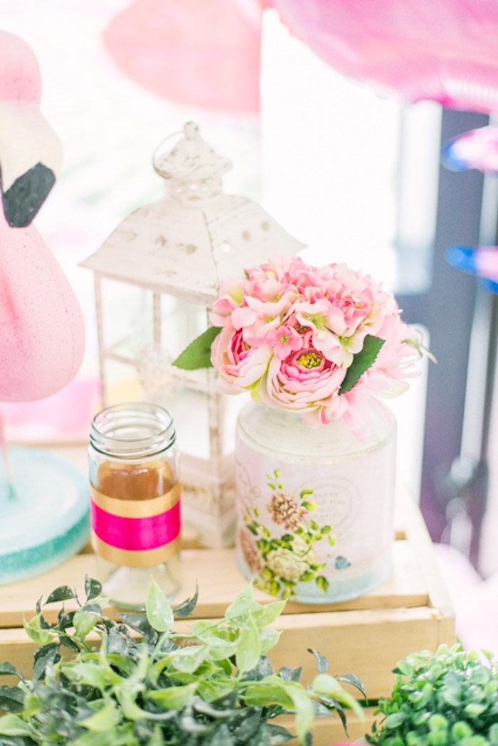 Pink Blooms + Decor from a Sweet Flamingo Summer Birthday Party on Kara's Party Ideas | KarasPartyIdeas.com (12)