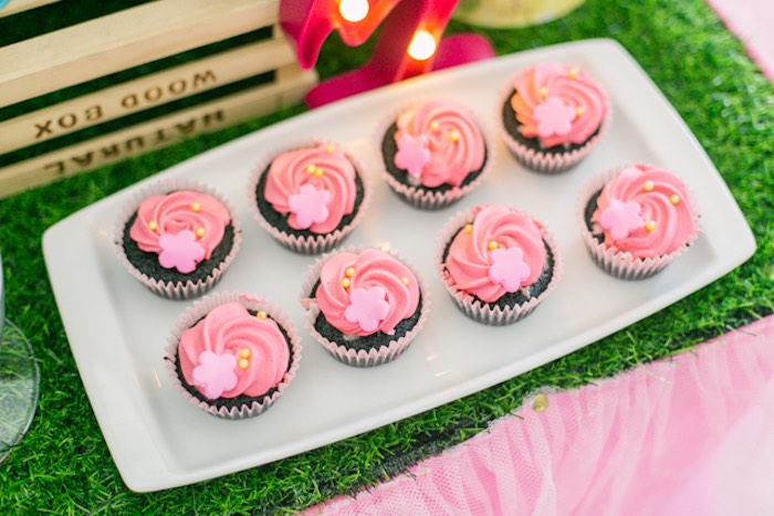Flamingo Pink-iced Chocolate Cupcakes from a Sweet Flamingo Summer Birthday Party on Kara's Party Ideas | KarasPartyIdeas.com (11)