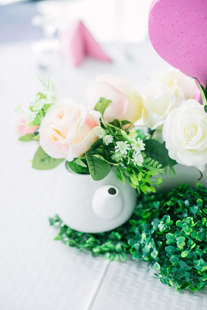 Tea Kettle Bloom Centerpiece from a Sweet Flamingo Summer Birthday Party on Kara's Party Ideas | KarasPartyIdeas.com (29)