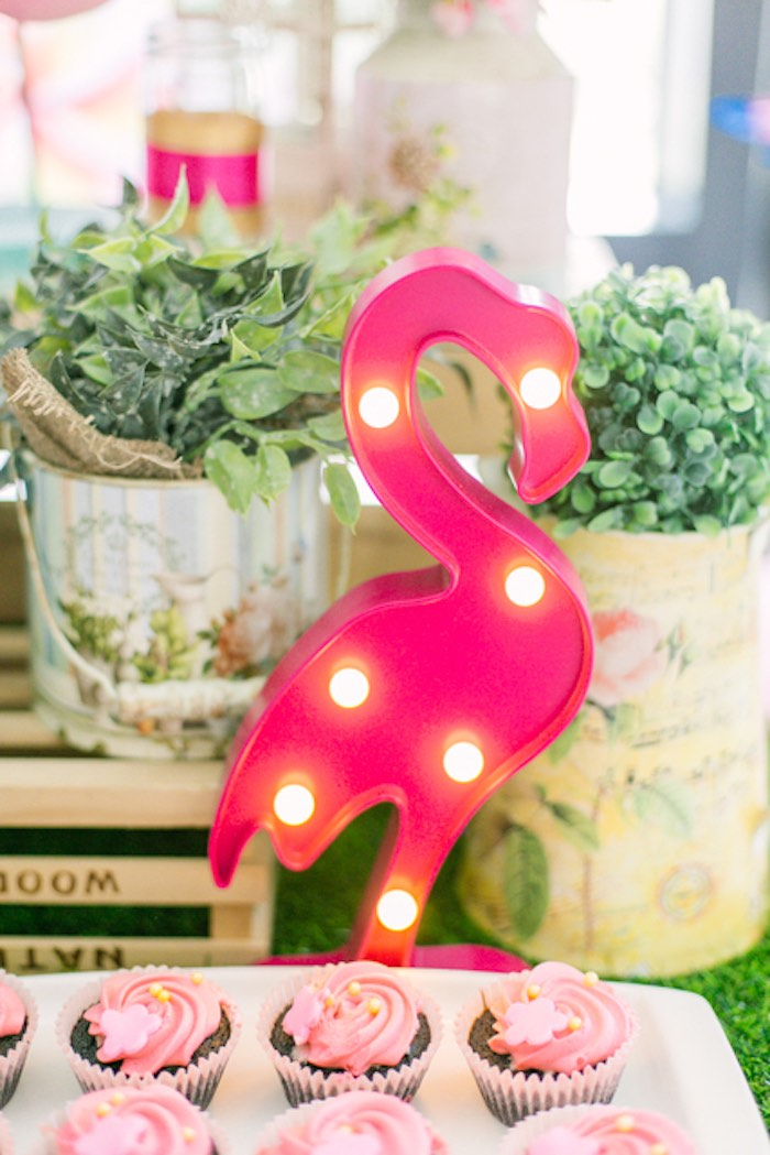 Flamingo Marquee from a Sweet Flamingo Summer Birthday Party on Kara's Party Ideas | KarasPartyIdeas.com (10)