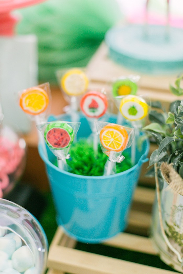 Fruit-inspired Lollipops from a Sweet Flamingo Summer Birthday Party on Kara's Party Ideas | KarasPartyIdeas.com (9)