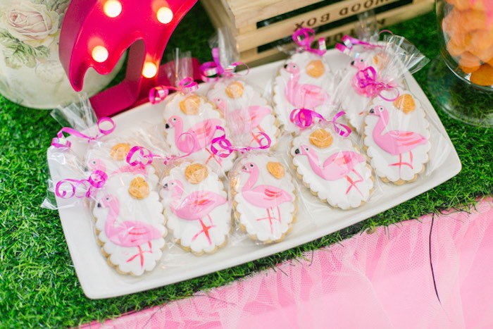 Flamingo Cookies from a Sweet Flamingo Summer Birthday Party on Kara's Party Ideas | KarasPartyIdeas.com (7)