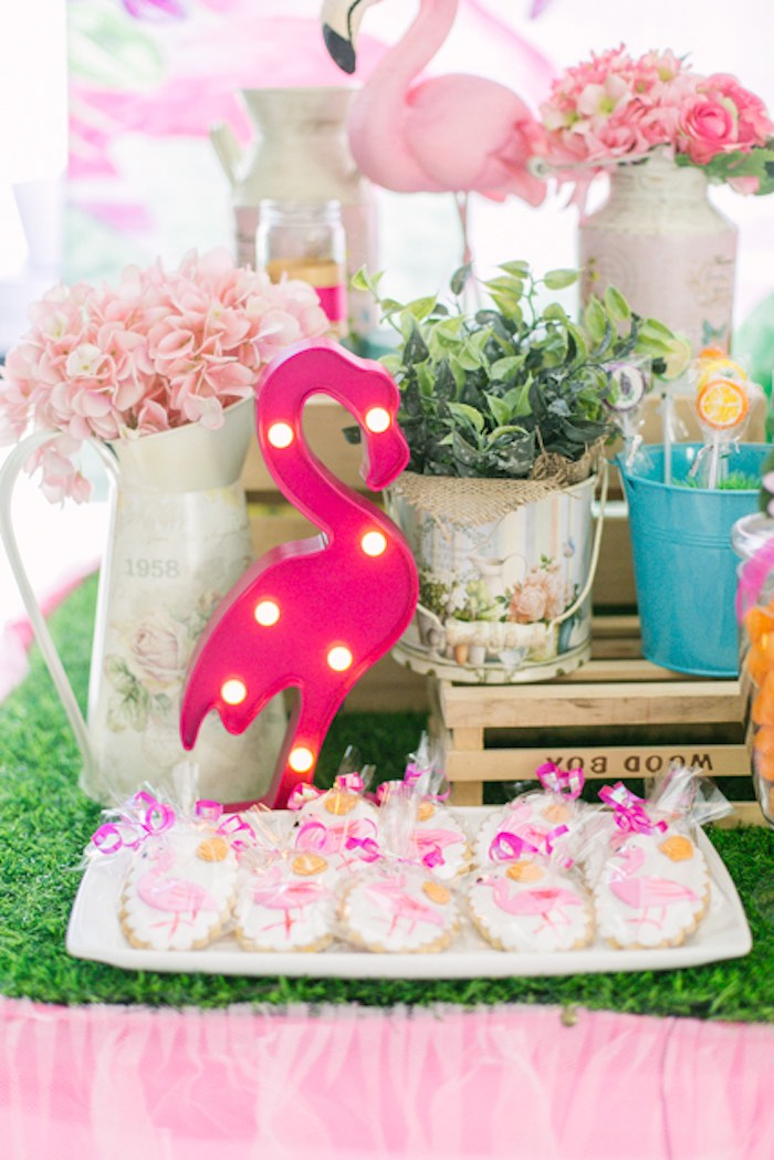 Flamingo Sweet Table from a Sweet Flamingo Summer Birthday Party on Kara's Party Ideas | KarasPartyIdeas.com (6)