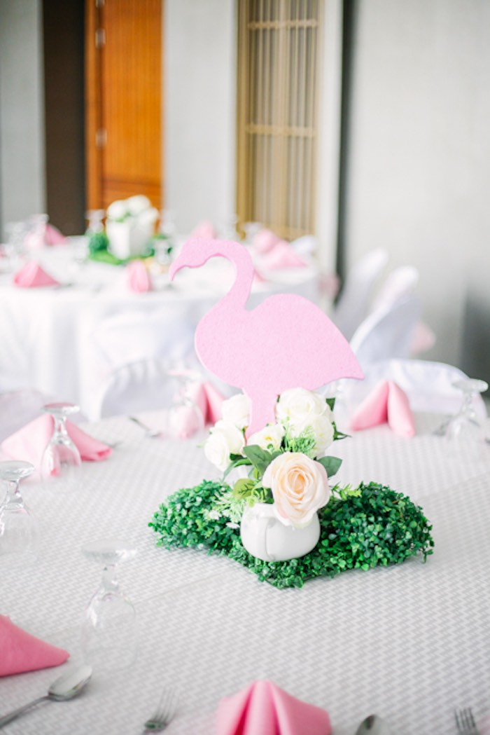 Flamingo Table Centerpiece from a Sweet Flamingo Summer Birthday Party on Kara's Party Ideas | KarasPartyIdeas.com (5)