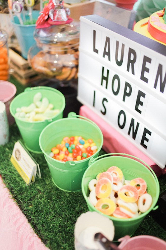 Candy-filled Buckets from a Sweet Flamingo Summer Birthday Party on Kara's Party Ideas | KarasPartyIdeas.com (4)