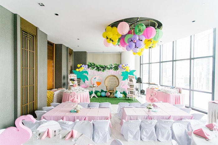 Flamingo Themed Partyscape from a Sweet Flamingo Summer Birthday Party on Kara's Party Ideas | KarasPartyIdeas.com (27)