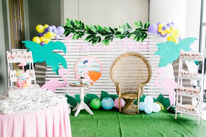 Flamingo Photo Lounge from a Sweet Flamingo Summer Birthday Party on Kara's Party Ideas   KarasPartyIdeas.com (26)