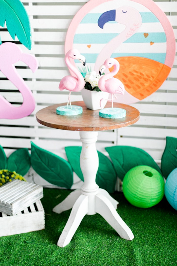 Flamingo-topped End Table from a Sweet Flamingo Summer Birthday Party on Kara's Party Ideas | KarasPartyIdeas.com (25)