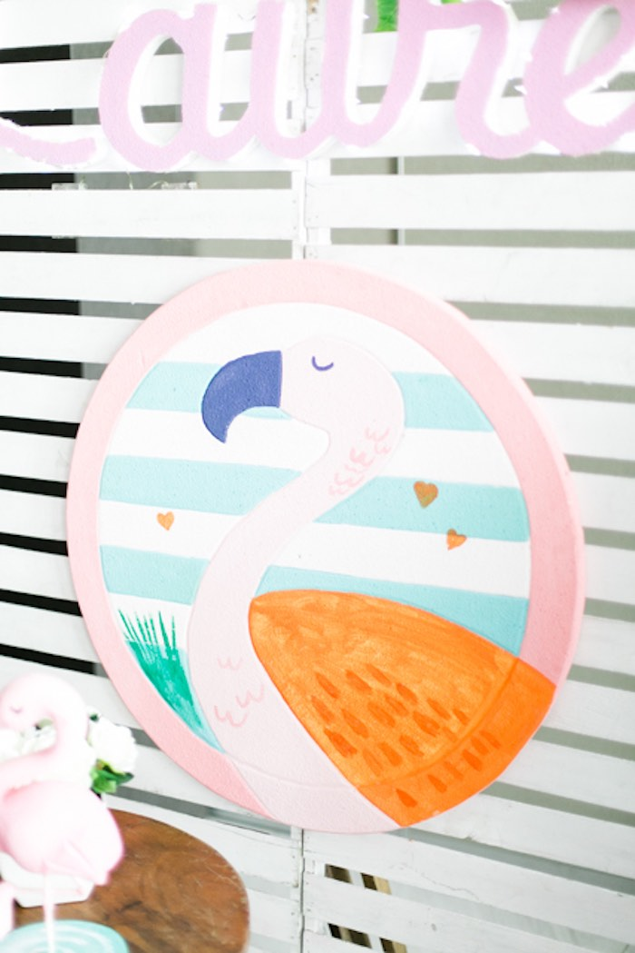 Flamingo Sign from a Sweet Flamingo Summer Birthday Party on Kara's Party Ideas | KarasPartyIdeas.com (24)