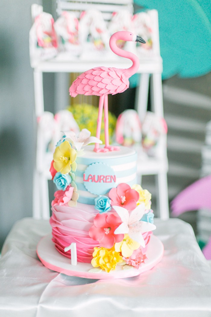 Tropical Flamingo Cake from a Sweet Flamingo Summer Birthday Party on Kara's Party Ideas | KarasPartyIdeas.com (23)