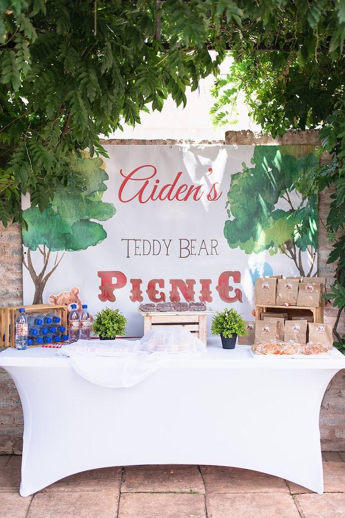 Picnic Party Table from a Teddy Bear Picnic Birthday Party on Kara's Party Ideas | KarasPartyIdeas.com (22)