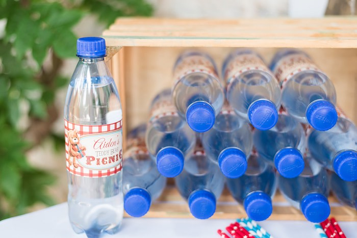 Picnic Water Bottles from a Teddy Bear Picnic Birthday Party on Kara's Party Ideas | KarasPartyIdeas.com (18)