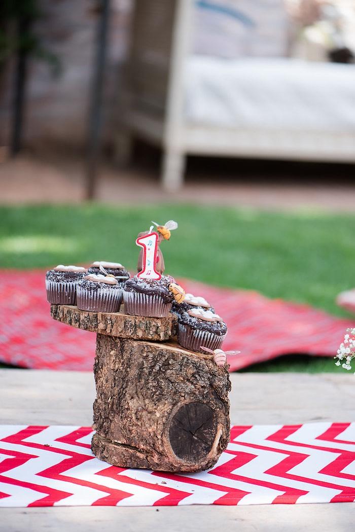 Log Cupcake + Dessert Pedestal from a Teddy Bear Picnic Birthday Party on Kara's Party Ideas | KarasPartyIdeas.com (15)