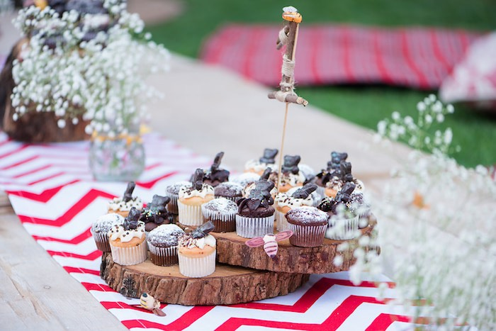 Teddy Bear Cupcakes on a Log Dessert Tray from a Teddy Bear Picnic Birthday Party on Kara's Party Ideas | KarasPartyIdeas.com (27)