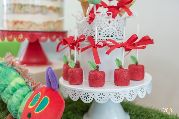 Apple-inspired Marshmallow Pops from a Hungry Caterpillar Inspired Birthday Party on Kara's Party Ideas | KarasPartyIdeas.com (18)