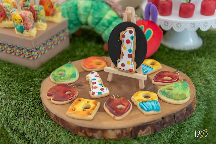 Hungry Caterpillar Themed Sugar Cookies from a Hungry Caterpillar Inspired Birthday Party on Kara's Party Ideas | KarasPartyIdeas.com (17)