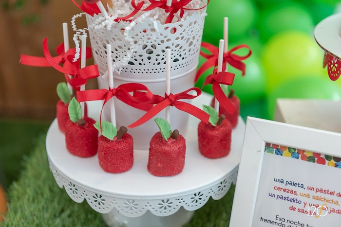 Apple-inspired Marshmallow Pops from The Hungry Caterpillar Inspired Birthday Party on Kara's Party Ideas | KarasPartyIdeas.com (10)