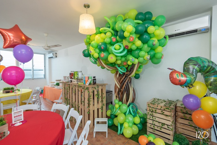 Balloon Tree from a Hungry Caterpillar Inspired Birthday Party on Kara's Party Ideas | KarasPartyIdeas.com (25)