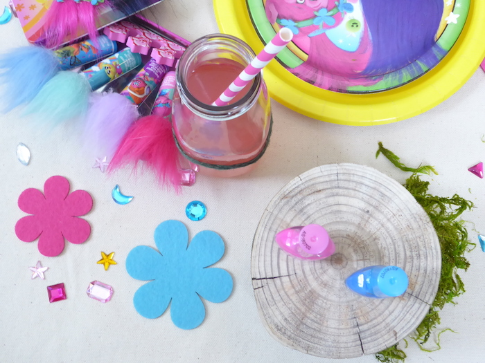Troll Tablescape Details from a Trolls Themed Spa Party for Girls on Kara's Party Ideas | KarasPartyIdeas.com
