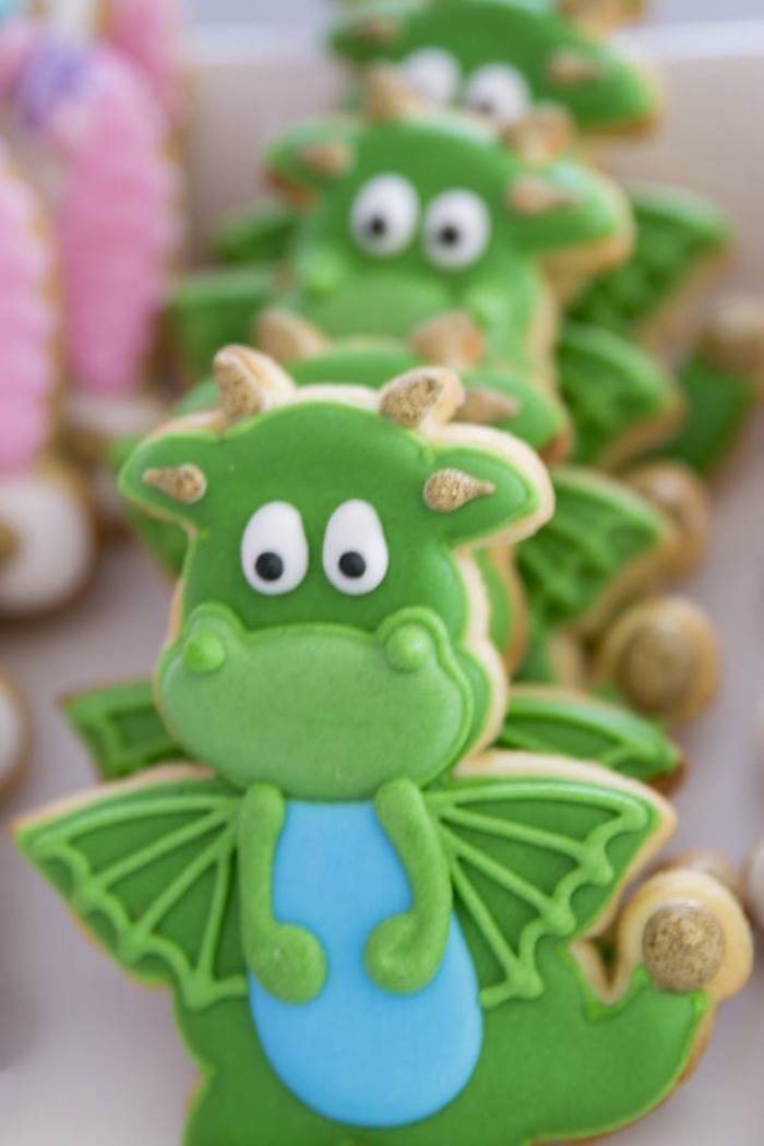 Dragon Sugar Cookies from a Unicorns and Dragons Birthday Party on Kara's Party Ideas | KarasPartyIdeas.com (24)