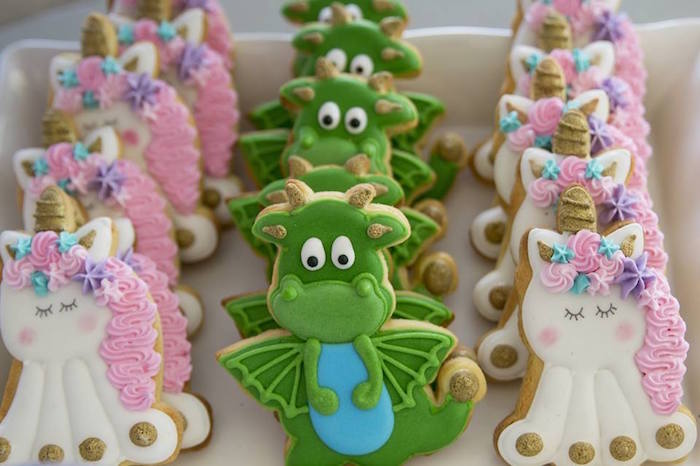 Unicorn and Dragon Sugar Cookies from a Unicorns and Dragons Birthday Party on Kara's Party Ideas | KarasPartyIdeas.com (16)