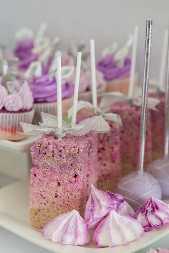 Purple Crispy Treats + Meringues and Cake Pops from a Unicorns and Dragons Birthday Party on Kara's Party Ideas | KarasPartyIdeas.com (14)