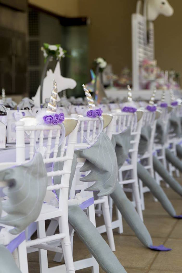 Party Chairs adorned with Dragon Tails and Unicorn Horns from a Unicorns and Dragons Birthday Party on Kara's Party Ideas | KarasPartyIdeas.com (12)