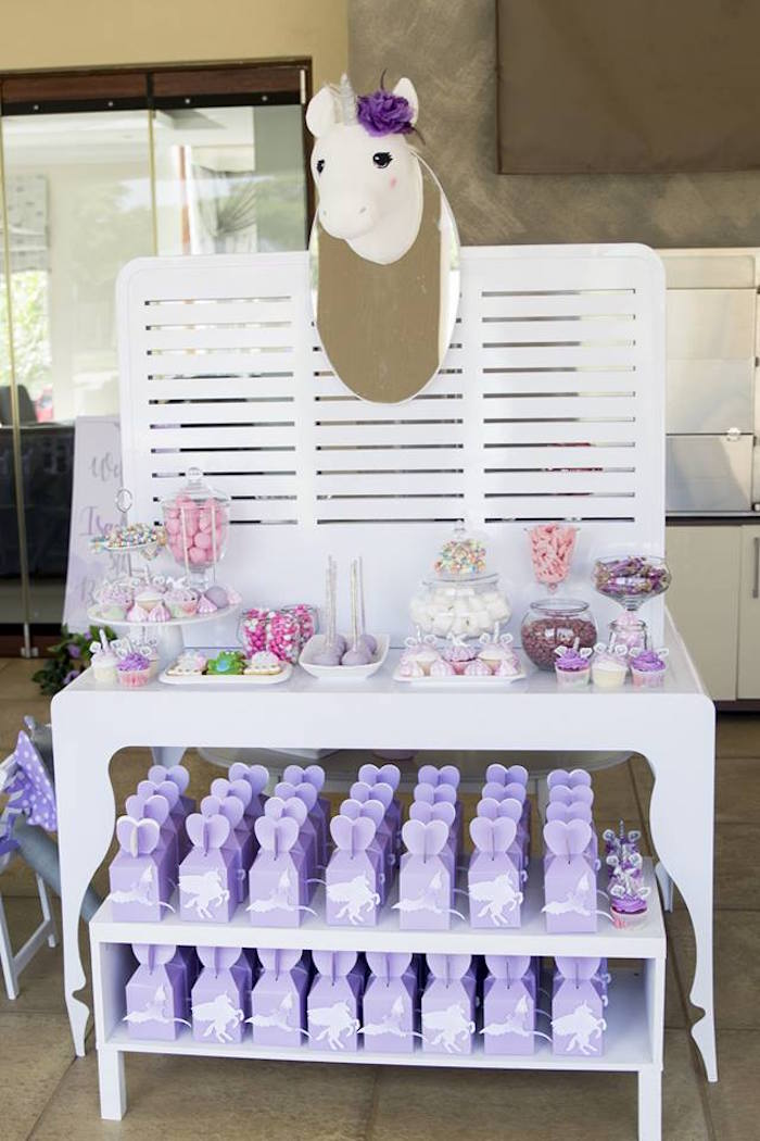 Unicorn Dessert Table from a Unicorns and Dragons Birthday Party on Kara's Party Ideas | KarasPartyIdeas.com (11)