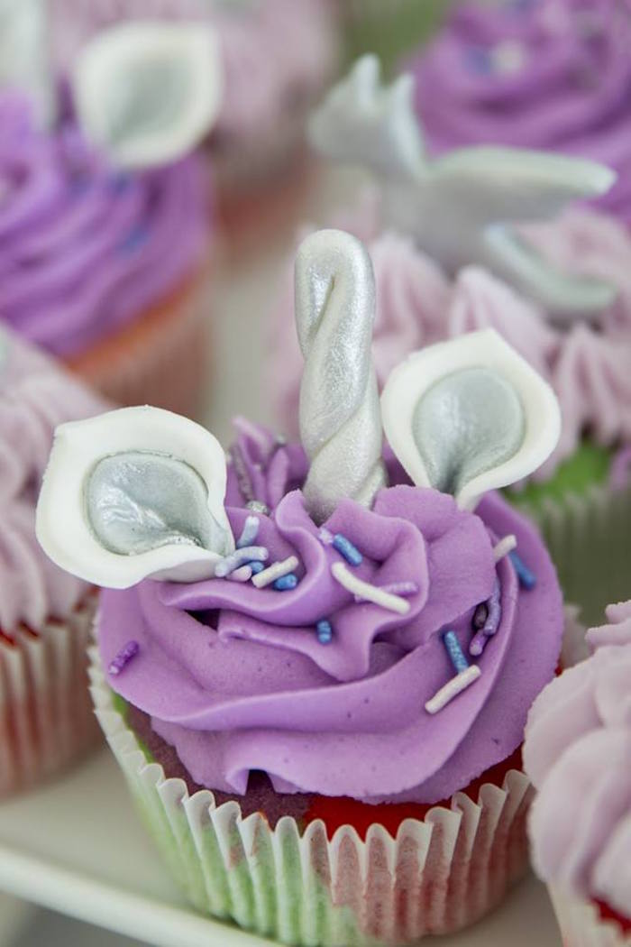 Purple Unicorn Cupcake from a Unicorns and Dragons Birthday Party on Kara's Party Ideas | KarasPartyIdeas.com (10)