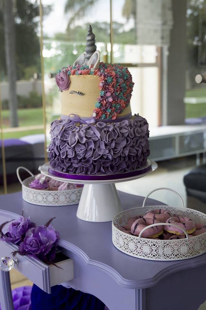 Purple Unicorn Cake from a Unicorns and Dragons Birthday Party on Kara's Party Ideas | KarasPartyIdeas.com (8)