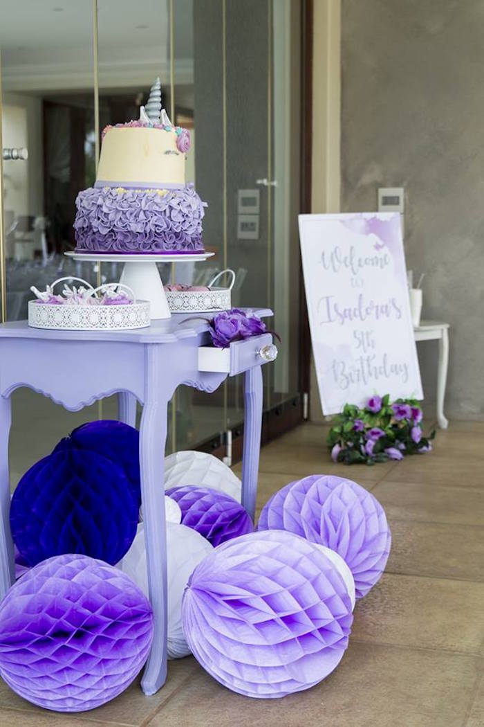 Purple Cake Table from a Unicorns and Dragons Birthday Party on Kara's Party Ideas | KarasPartyIdeas.com (6)