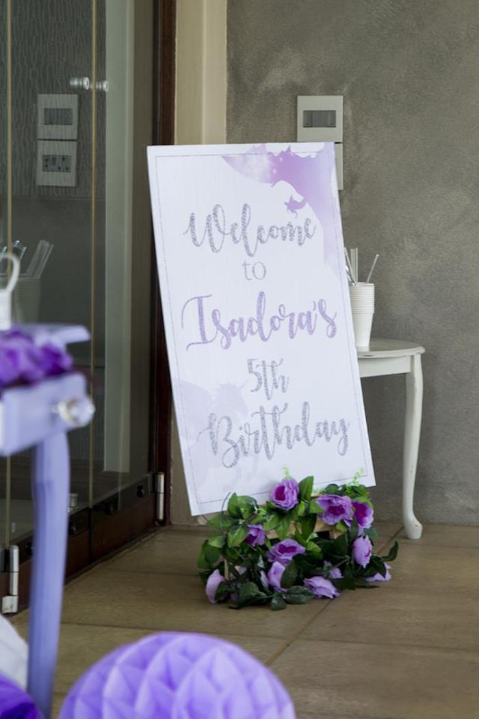 Purple + White Welcome Sign from a Unicorns and Dragons Birthday Party on Kara's Party Ideas | KarasPartyIdeas.com (32)
