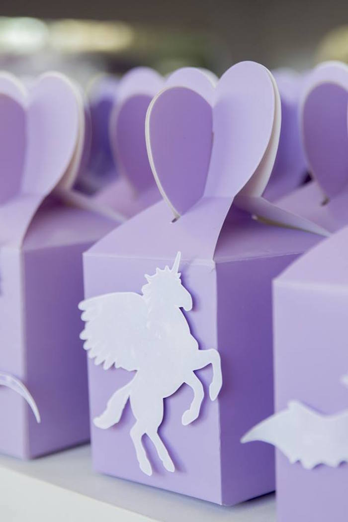 Purple Unicorn Favor Box from a Unicorns and Dragons Birthday Party on Kara's Party Ideas | KarasPartyIdeas.com (3)