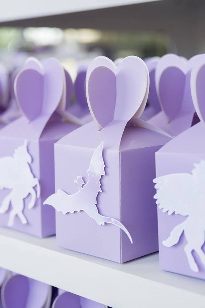 Purple Dragon Favor Box from a Unicorns and Dragons Birthday Party on Kara's Party Ideas | KarasPartyIdeas.com (30)