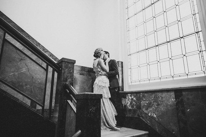 Staircase Bride & Groom from a Victorian Regal Wedding on Kara's Party Ideas | KarasPartyIdeas.com (20)