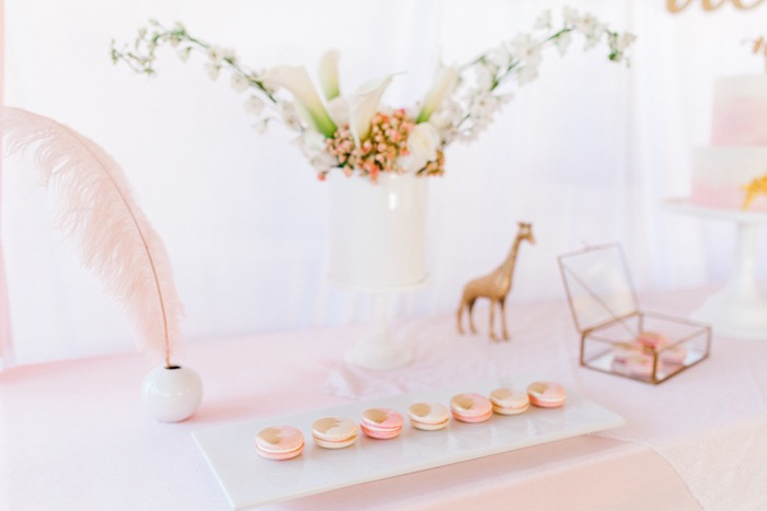 Gold Brushed Macarons from a Whimsical Pastel Zoo Animal Birthday Party on Kara's Party Ideas | KarasPartyIdeas.com (13)