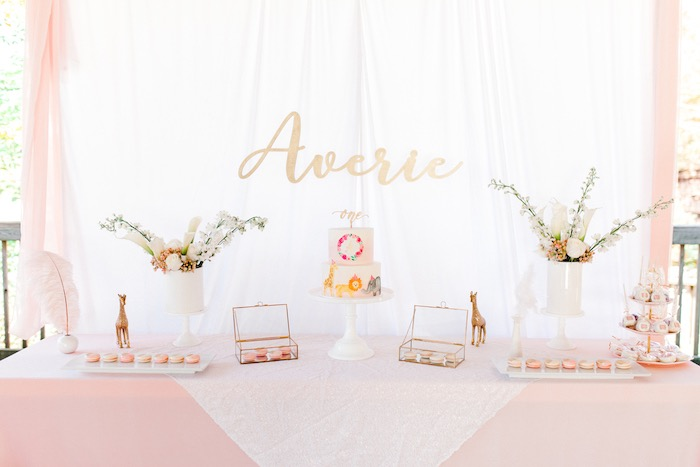 Pastel Dessert Table from a Whimsical Pastel Zoo Animal Birthday Party on Kara's Party Ideas | KarasPartyIdeas.com (11)