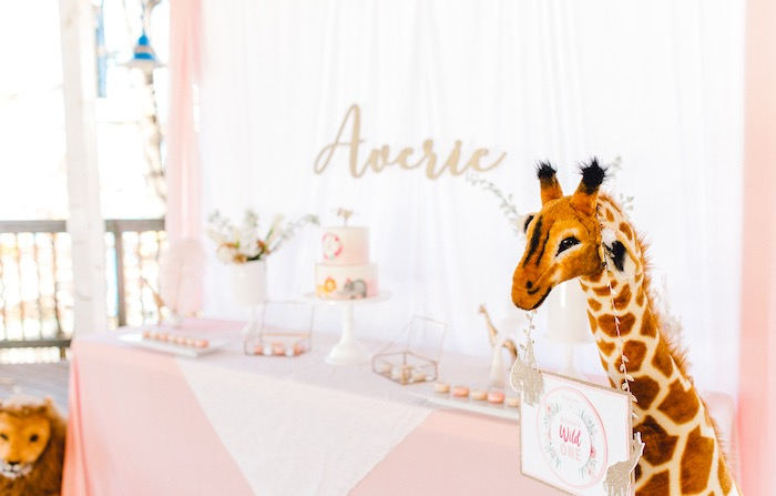 Plush Giraffe + Sign from a Whimsical Pastel Zoo Animal Birthday Party on Kara's Party Ideas | KarasPartyIdeas.com (10)