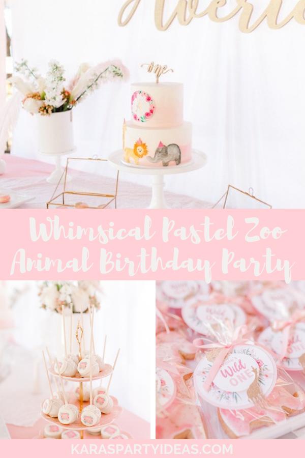 Whimsical Pastel Zoo Animal Birthday Party via KarasPartyIdeas - KarasPartyIdeas.com